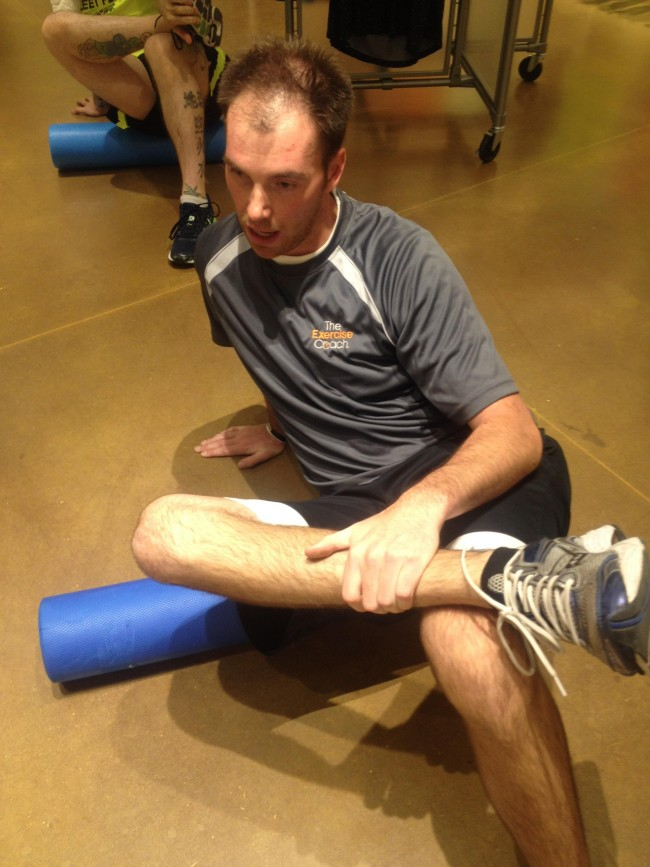 runner using foam roller